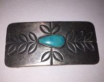 Navajo Turquoise Sterling Belt Buckle 925 Silver Vintage Jewelry Southwestern Native Christmas Birthday Anniversary Gift Dead Old Pawn Boho