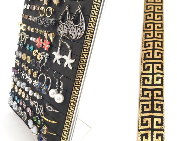 Post Earring Stand - Golden Scroll Ribbon - Earring Organizer
