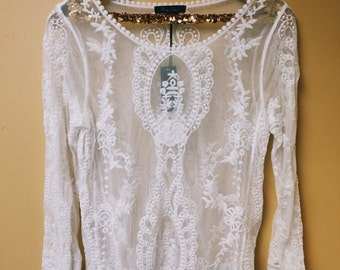 Sheer Lace Embroidered Top