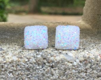 SALE Earrings Druzy Square White Opal Stud Earrings Boho Jewelry 12MM