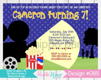 Outdoor Movie Night, Drive In Movie, Theater:085-Children's Birthday Invitation, Personalized Digital Printable JPEG