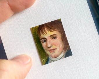 Mini William Wordsworth Portrait Painting, Framed