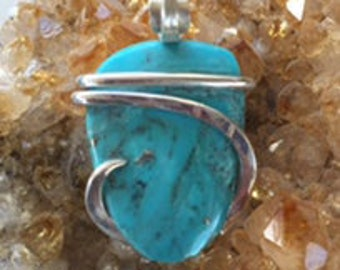 Handmade Arizona Turquoise Pendant wrapped in sterling silver by Isabella Roth