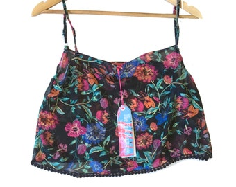 Black Vintage Floral Print Chiffon Camisole