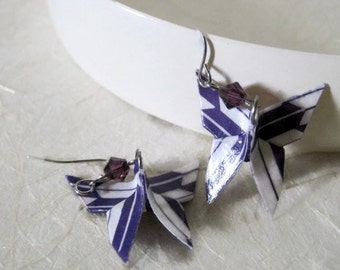 Paper Earrings - Butterfly Earrings - Origami Jewelry - Paper Jewelry - February Amethyst Birthstone - gift for her - WC03