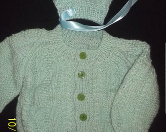 Knitted Baby/Infant Cardigan Sweater and Matching Bonnet - size 3- 6 months