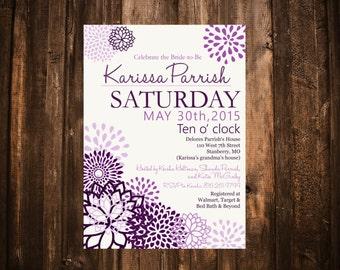 Purple Peonies Bridal Shower Invitation; Floral; Printable or set of 10