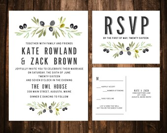 Olive Branch Wedding Invitations; Printable OR set of 25