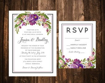Purple Bohemian Floral Watercolor Wedding Invitations; Printable OR set of 25