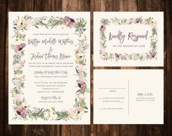 Printable Lavender & Blush Whimsical Bohemian Wedding Suite
