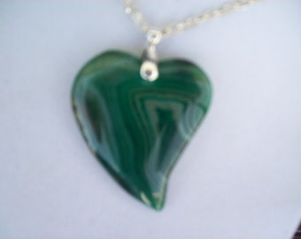 "Striped Green Agate Heart pendant with chain 2-1/4"" long"