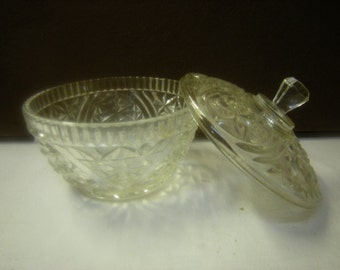 vintage glass candy dish-sugar bowl-serving piece-houseware-1960's glass dish-