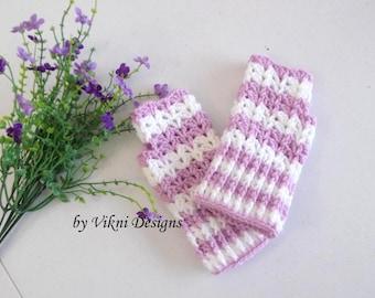 Light Lavender Fingerless Gloves, Crochet Women Gloves, Fingerless Mittens by Vikni Designs