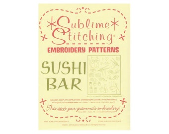 Embroidery Transfer - Sublime Stitching Sushi Bar - Iron On Transfer Embroidery Pattern Iron-on template - Japanese Embroidery - Asian