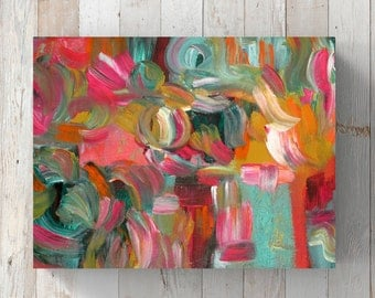 Original Abstract Acrylic Painting Canvas, Teal, Gold, Pink Modern Wall Art, Contemporary Home Decor, Colorful Art