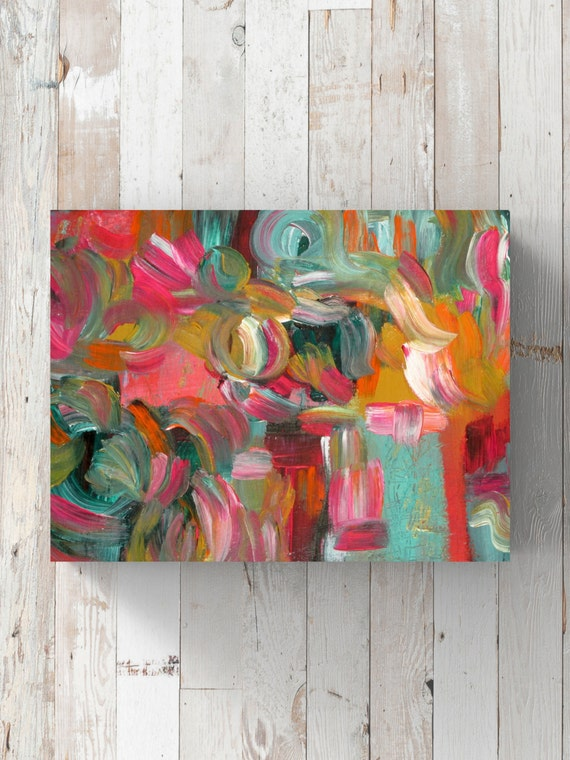 original abstract acrylic painting canvas teal gold pink. Black Bedroom Furniture Sets. Home Design Ideas