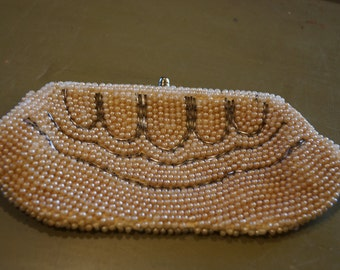 Vintage Pearl Clutch Purse, Accent With Bugle Beads Made in Japan
