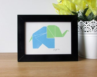Green & Blue Origami Elephant Handpulled Screen Print - 125x174mm - Print Only