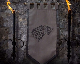 Game of thrones flag curtain house STARK home decor Winter Is Coming gift photo banner Arya Jonh Snow