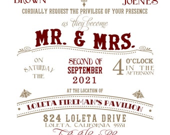 "Mr. and Mrs. Vintage Wedding Invitation 5""x7"" Custom Digital Card & RSVP Postcard"