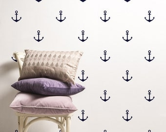 Anchors Set Vinyl Wall Sticker - Nautical Pattern Decal - Anchor Kit Wall Sticker