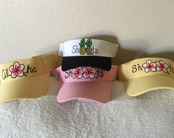 Handpainted aloha shoots visor