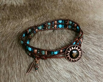 Shades of Coppers and Turquoise Shades, Greek Leather Wrap bracelet