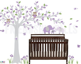 Blowing tree wall decal, baby elephant wall decal, Nursery Wall Decal, Elephant, Friendship Falls, Lavender with Touch of Green / Grey Tree
