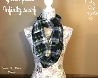Green plaid infinity scarf