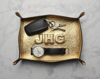 custom monogram metallic leather tray / catch all / mens / dresser organizer / valet tray / personalized mens gift / jewelry bowl