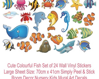 FINDING NEMO Cute Fish Wall Sticker Set Bathroom Nursery Baby Room Colour  Decals Part 71