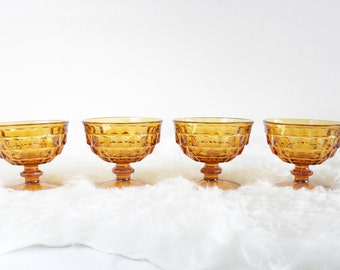 Vintage Amber Dessert Cups by Fostoria Whitehall Pattern. Set Of 4 Sorbet Parfait Ice Cream Cups. Valentine's Housewarming Gifts For Her