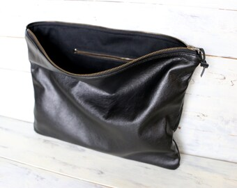 Oversized Leather Clutch Extra Large brown Leather Clutch