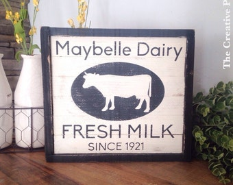 Farmhouse Dairy Sign- Fresh Milk- Cow sign- Pallet Wood Sign