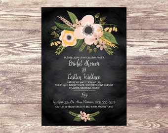 Printed Floral Chalkboard Bridal Shower Invitation, Garden Rehearsal Dinner Invitation, Engagement Party Invite, Wedding Brunch, Baby Shower