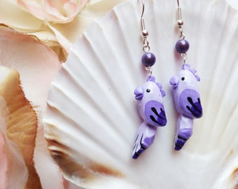 Vintage Inspired Lilac Parrot earrings