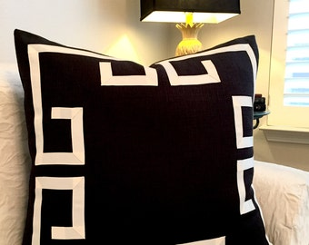 black greek key pillow cover black and cream pillow black and ivory pillows - Black Decorative Pillows