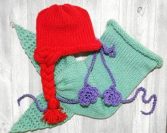 Newborn Mermaid Outfit The Little Mermaid Crochet Mermaid Tail Newborn Crochet Outfit Newborn Mermaid Tail, baby girl photo prop baby girl