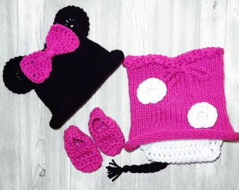 Baby Girl Minnie Mouse Outfit Newborn Minnie Mouse Outfit Crochet Minnie Mouse