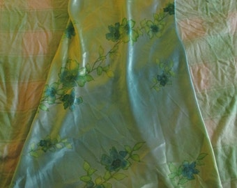Floral Teal Silky NIghtgown