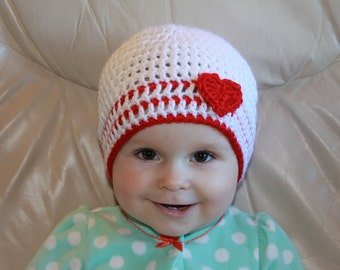 Crochet Baby Hat with Heart, Heart Baby Hat, Baby Valentine Hat, Valentine's Day Hat, Infant Heart Beanie, Toddler Heart Beanie, Photo Prop