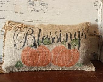 Fall Blessings Burlap Pillow