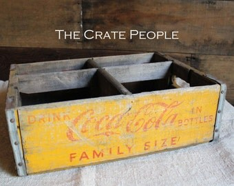 FREE SHIPPING -- Vintage Yellow Coca-Cola Soda Pop Crates -- Vintage Soda Crates -- Soda Pop Crates