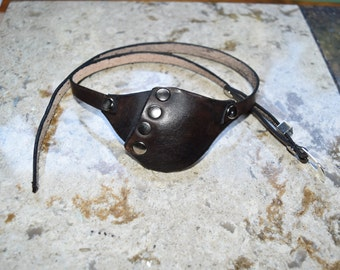 Leather eye patch with adjustable buckle - will work for medical use not touching the eye.