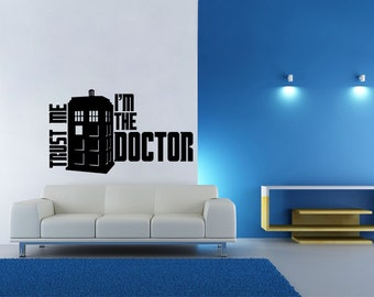 XL Dr. Who Inspired Trust Me Doctor Tardis Wall Decal Parody Sticker