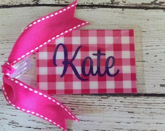 Luggage Tag Preppy Gingham Print Personalized Laminated with Ribbon Lunch Bag Diaper Bag Backpack Bridesmaid Gift Wedding Gift