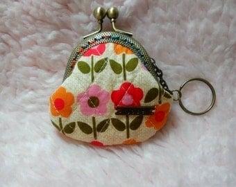 Handmade Flower Print Lock Coin Purse Coins Bag Small Pouch (6cm)