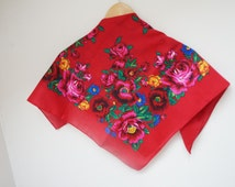 Red Head Scarf Shawl yellow roses square Retro vibrant pink red green blue vintage cotton babushka Russian style flower floral peony gypsy