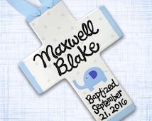 Personalized Baptism Cross - Blue Elephant - Baptism Gift Boy - Personalized Baptism - Unique Godchild Gift - Bible Verse