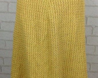1960's Mustard Yellow Ribbed A-Line Skirt Size 14